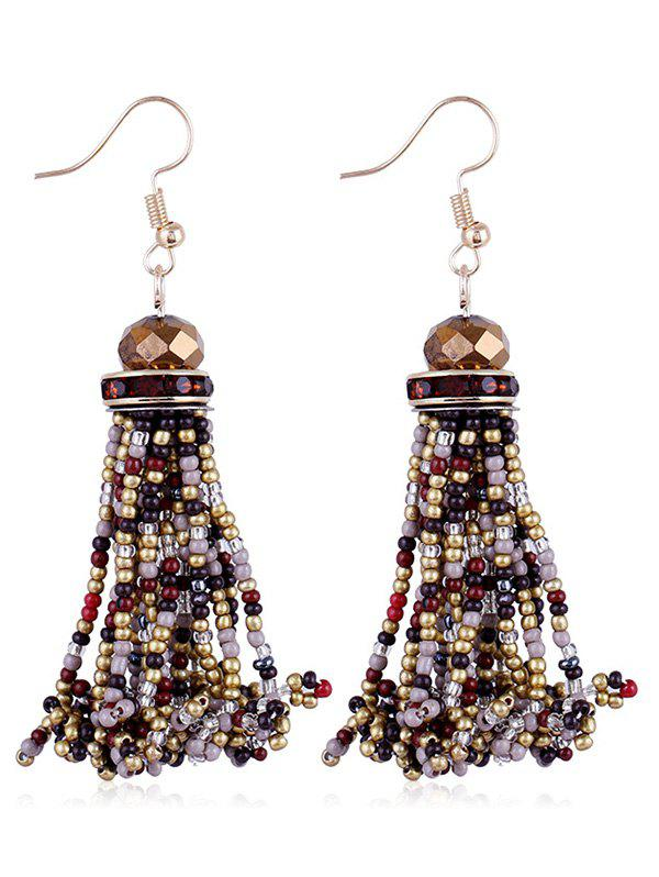 Trendy Beads Tassel Rhinestone Hanging Hook Earrings
