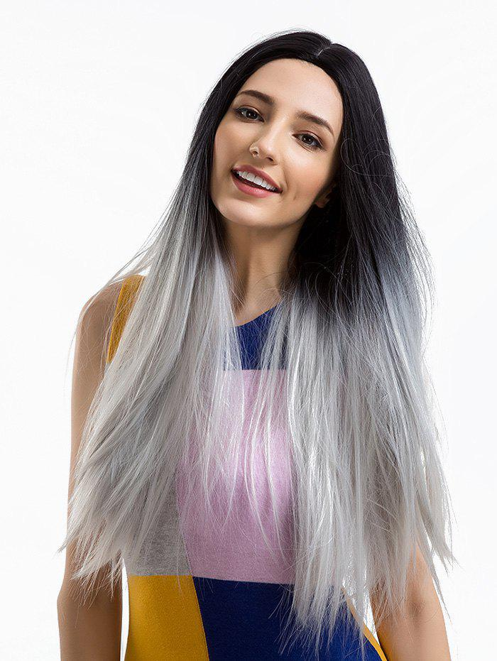 Fashion Long Middle Part Ombre Straight Synthetic Wig