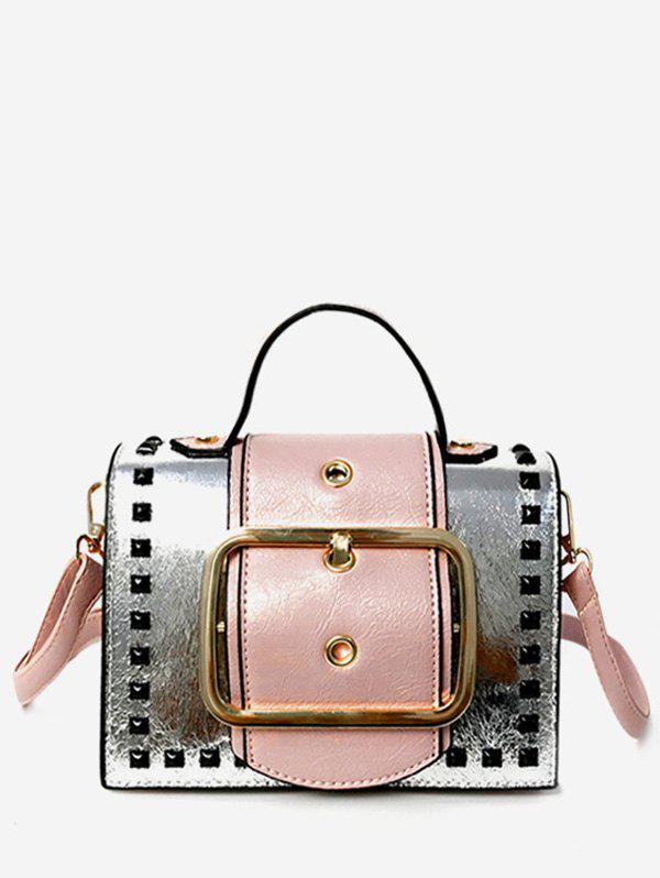 Online Top Handle Dazzling Buckled Color Block Sling Bag