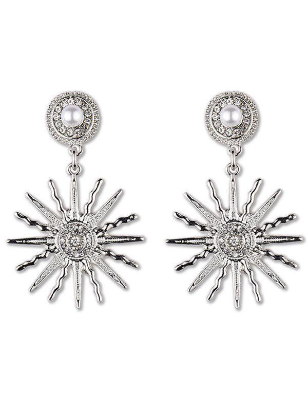 Hot Faux Pearl Sun Light Design Rhinestone Earrings