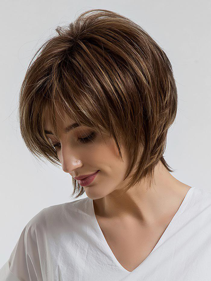 Unique Short Side Bang Colormix Layered Straight Synthetic Wig