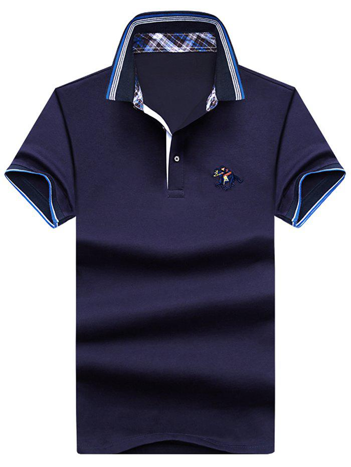 Buy Embroidery Horse Stripe Trim Polo T-shirt