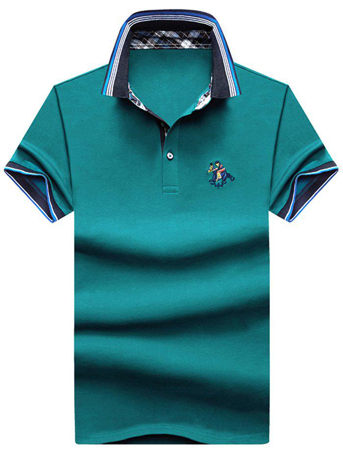 Discount Embroidery Horse Stripe Trim Polo T-shirt