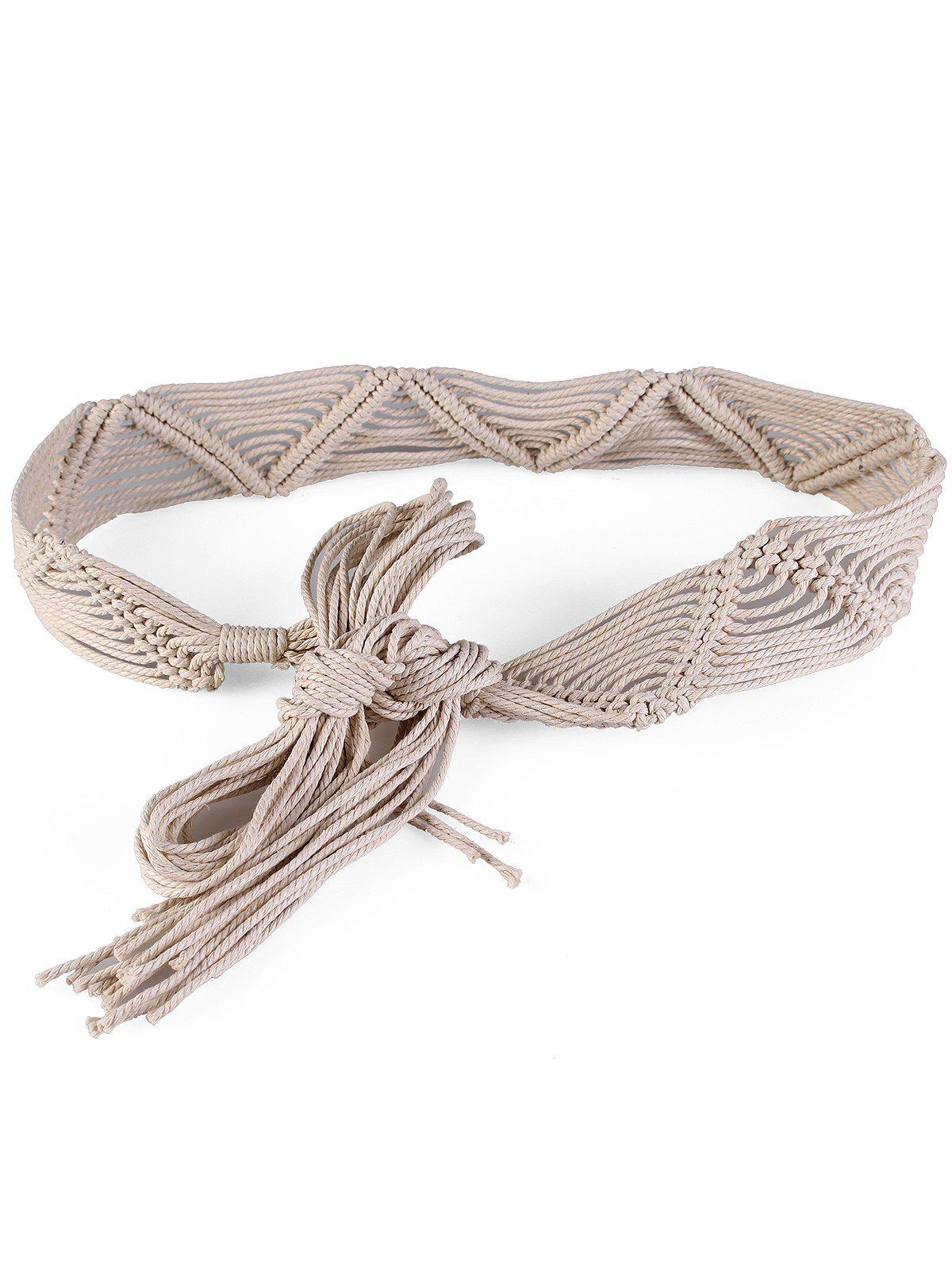 Cheap Bohemian Braided Rope Adjustable Dress Belt
