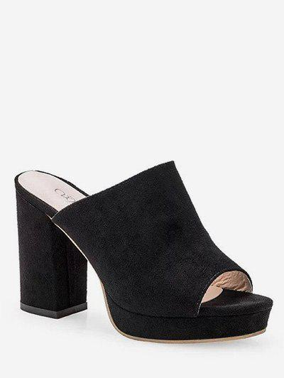 Affordable Slide Peep Toe Leisure Chunky Heel Mules Shoes
