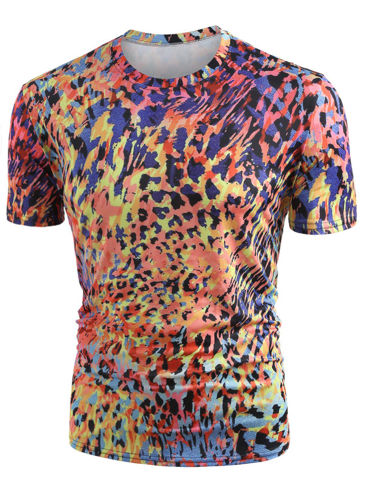 Cheap Round Neck Allover Colormix Print T-shirt