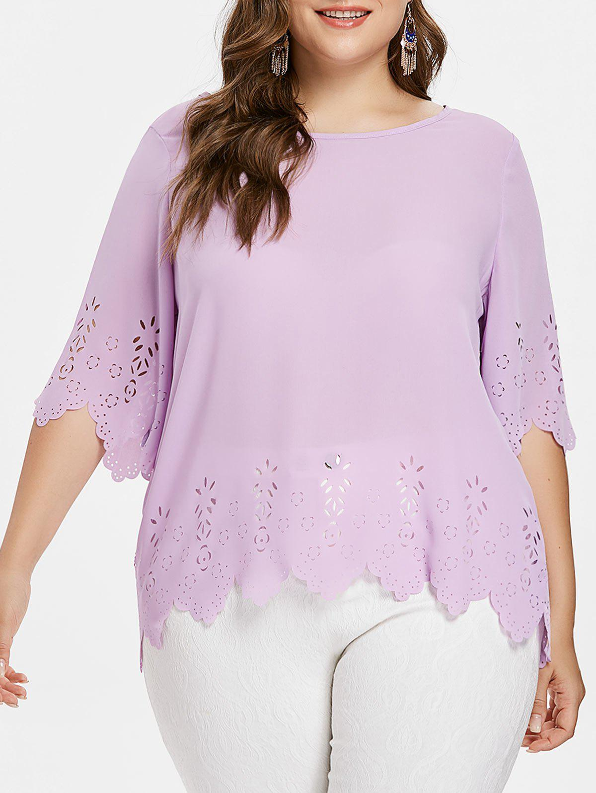 Outfit Plus Size Laser Cut Scalloped Blouse