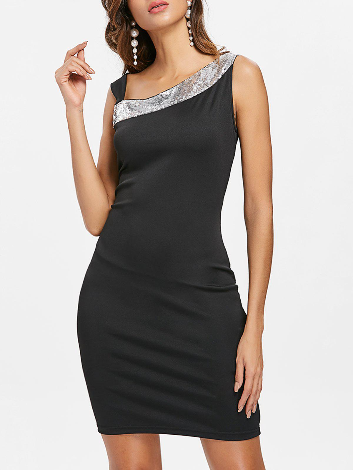 Discount Skew Neck Sequined Dress
