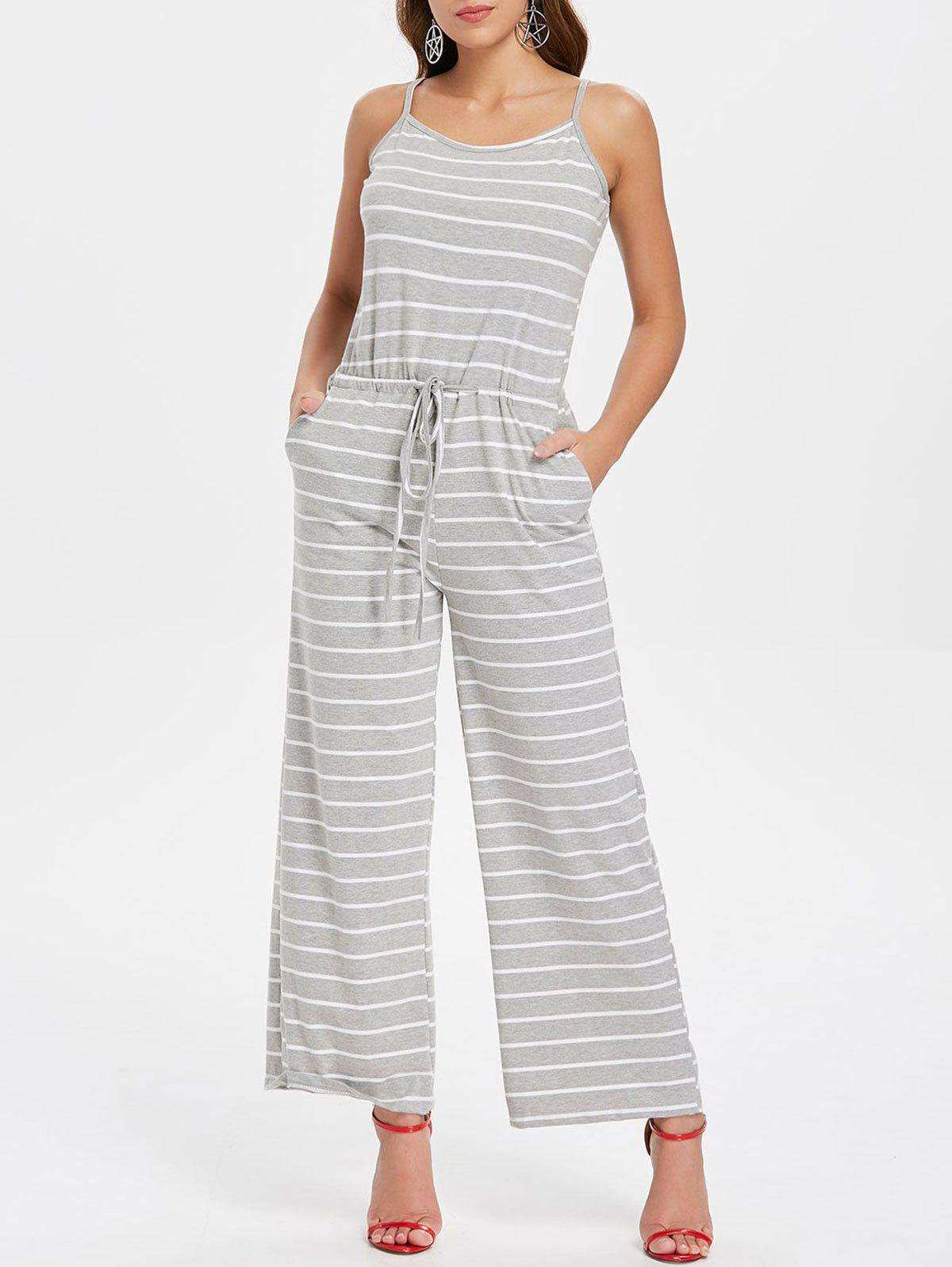 Shops Drawstring Waist Striped Jumpsuit