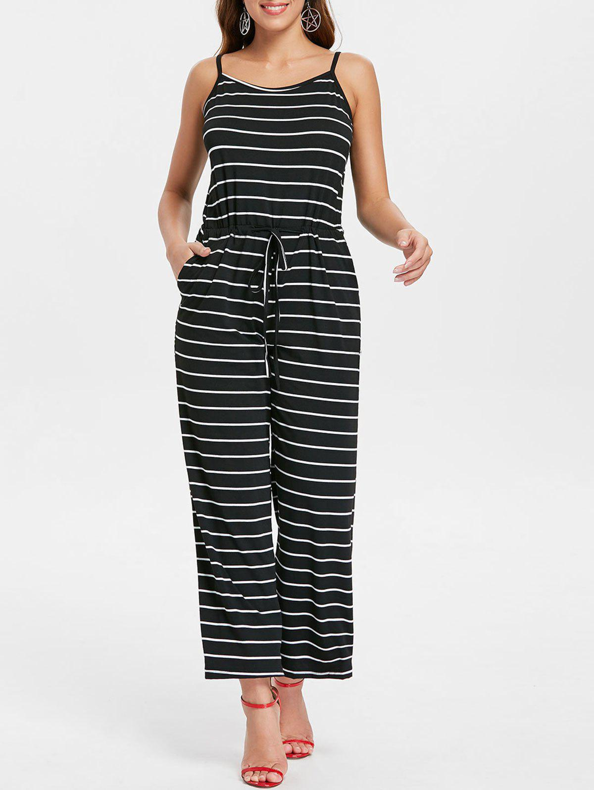 Unique Drawstring Waist Striped Jumpsuit