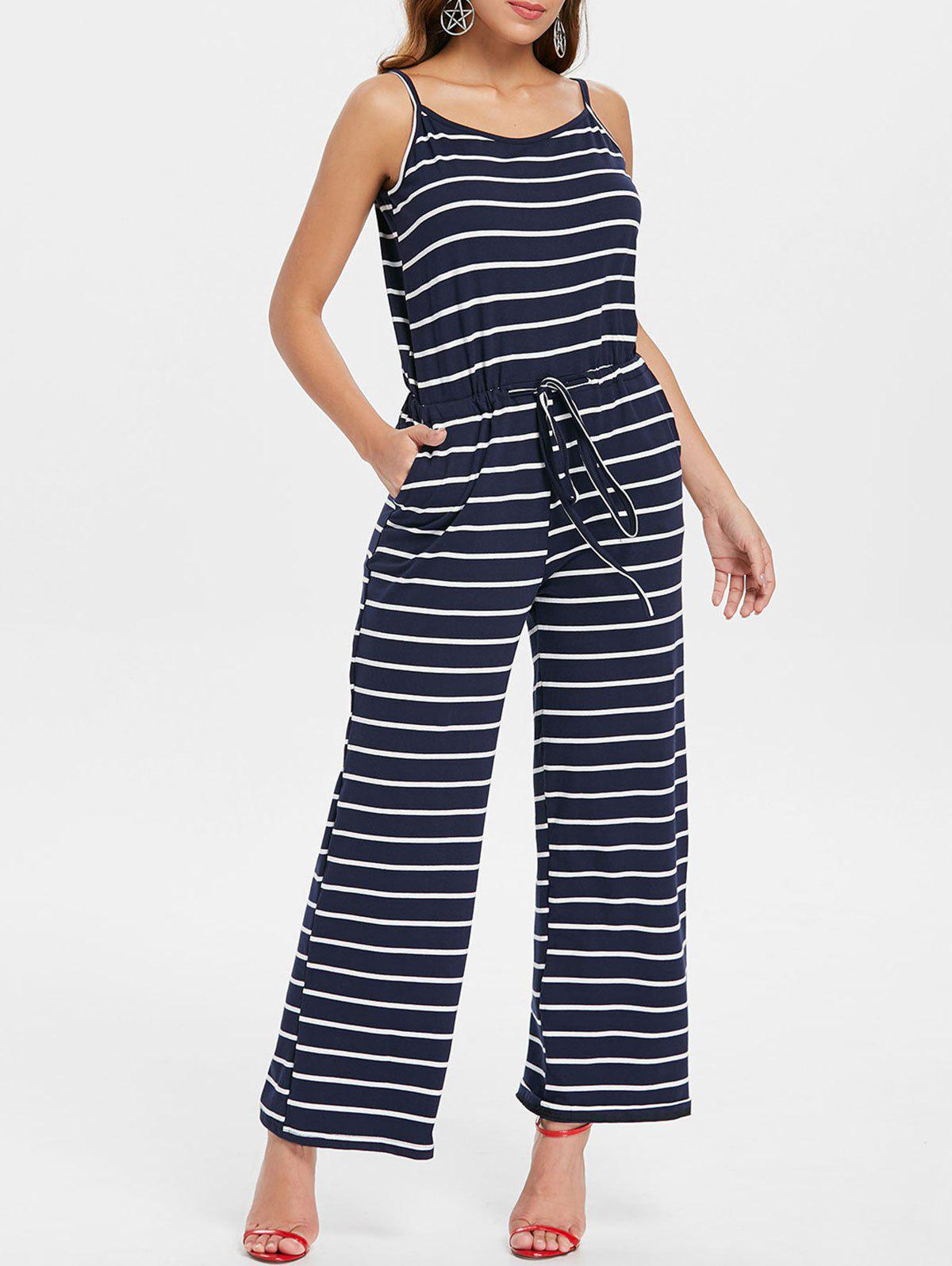 Hot Drawstring Waist Striped Jumpsuit