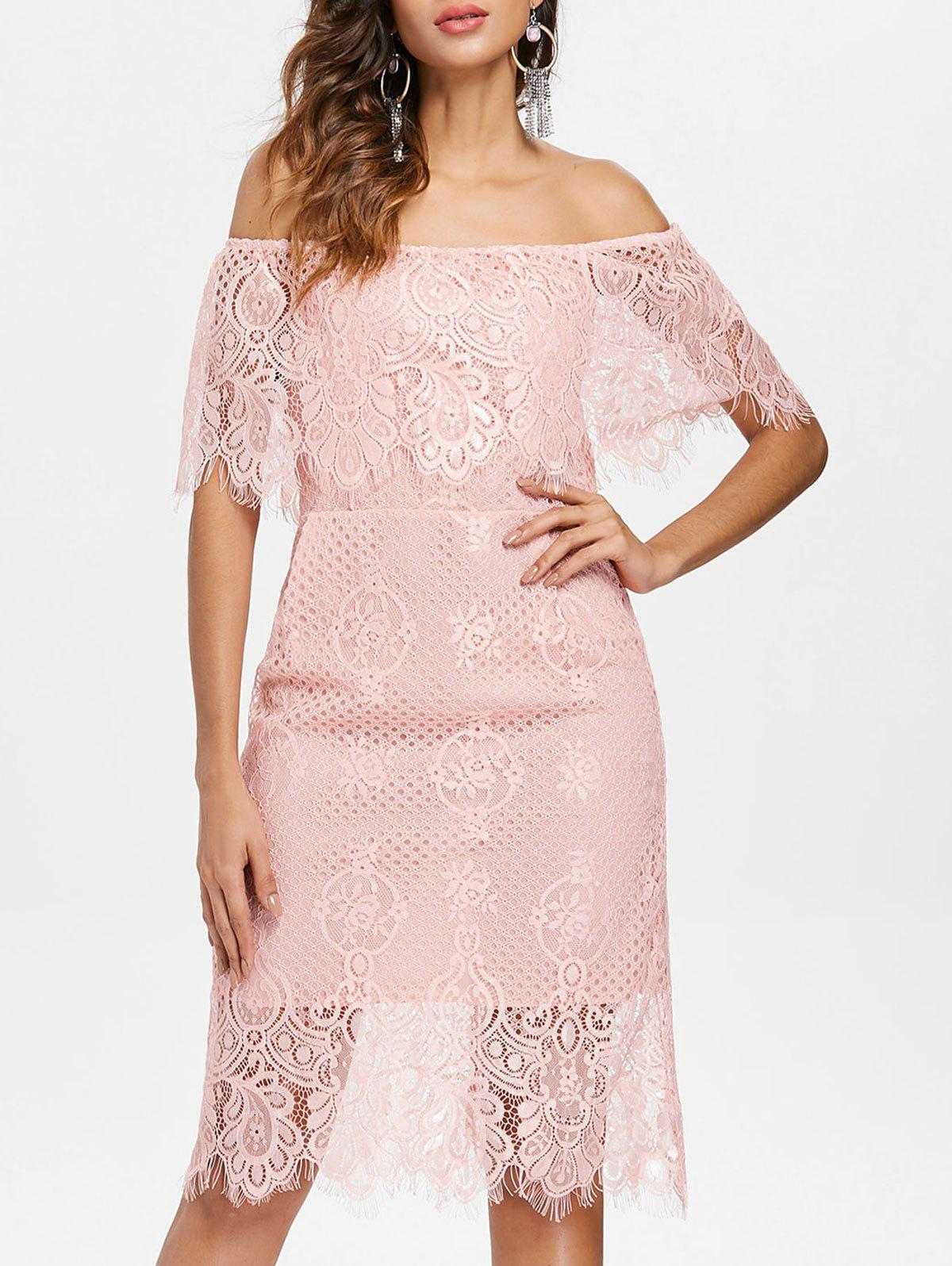 Off Shoulder Lace Party Dress фото