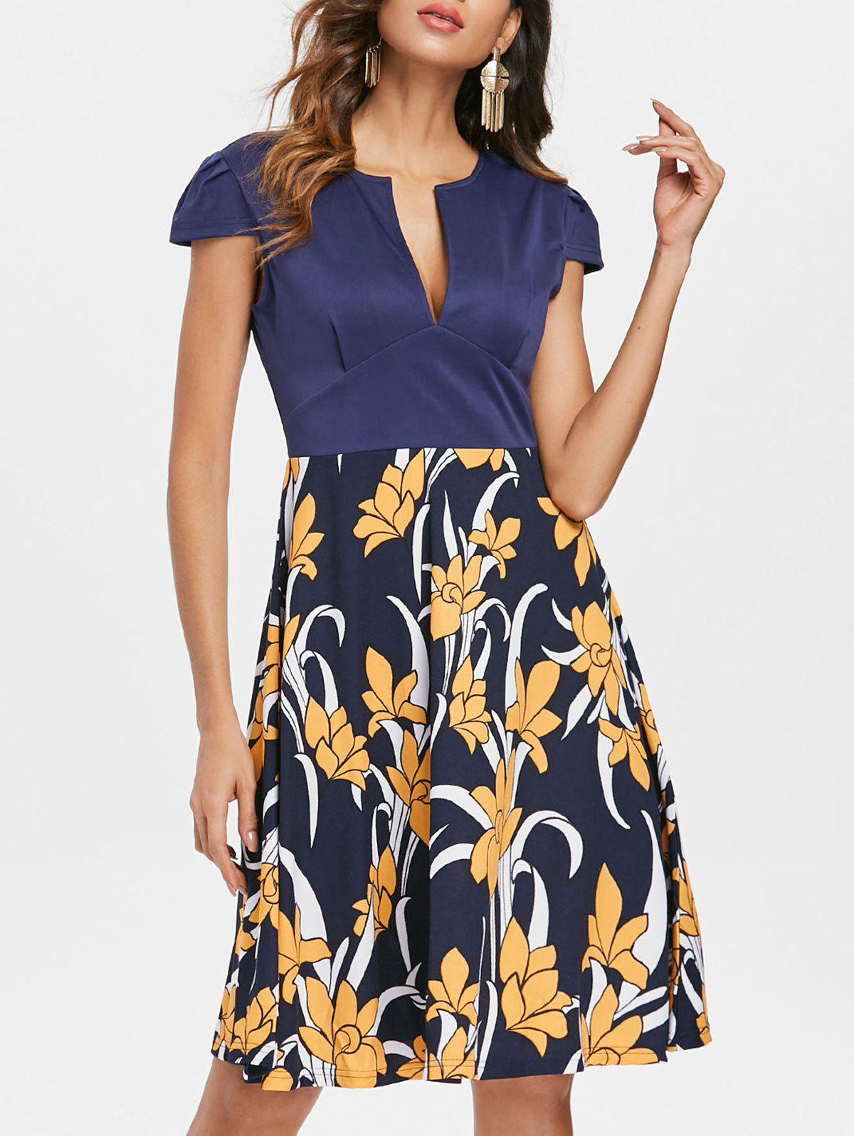 Fashion Low Cut Floral A Line Dress
