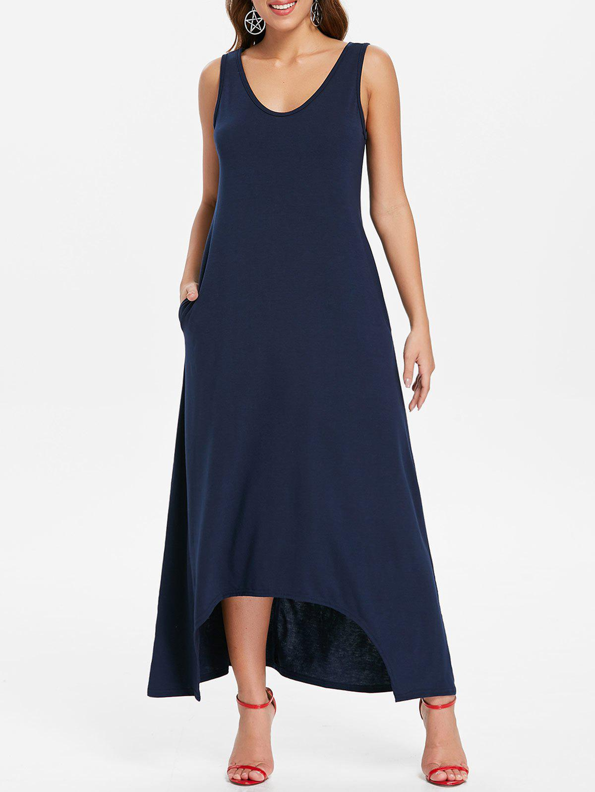 Store Sleeveless Front Pockets Maxi Dress