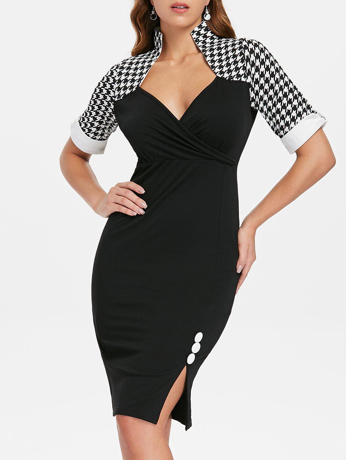 Outfits Button Embellished Houndstooth Print Bodycon Dress
