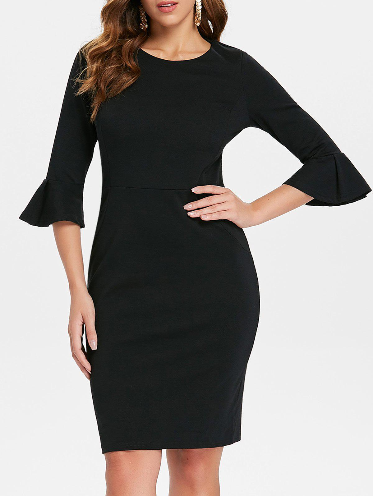 Cheap Bodycon Bell Sleeve Knee Length Dress