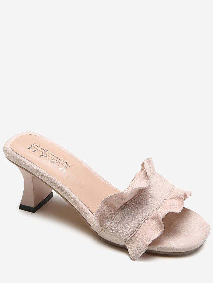 Chic Chunky Heel Ruffles Decorated Mules Shoes