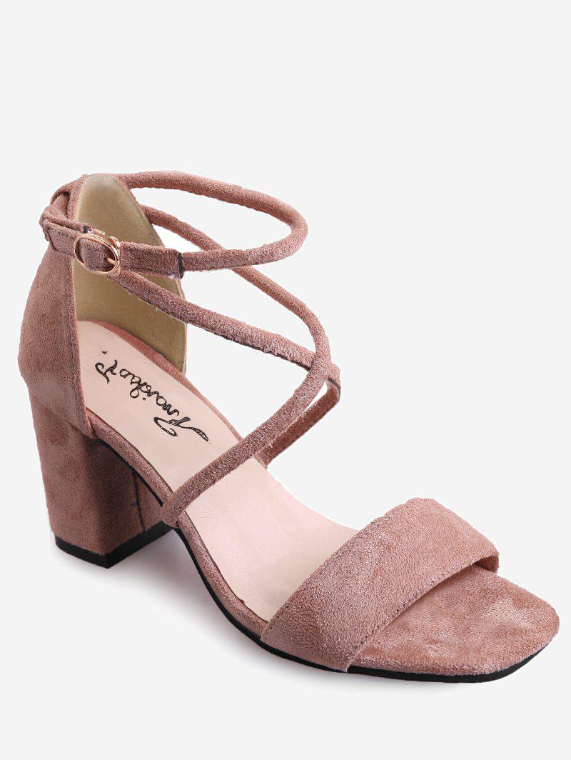 Store Mid Heel Cross Strap Buckled Casual Sandals