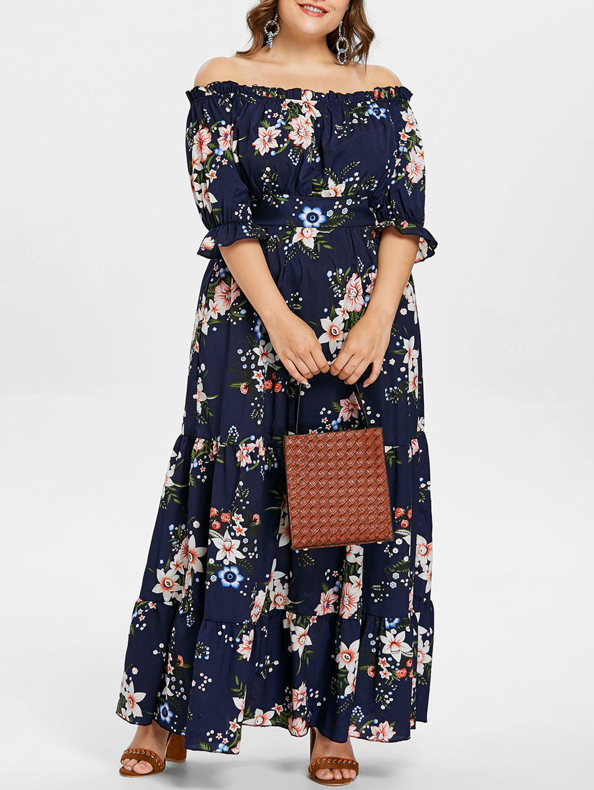 45% OFF] Flower Off Shoulder Plus Size Dress | Rosegal