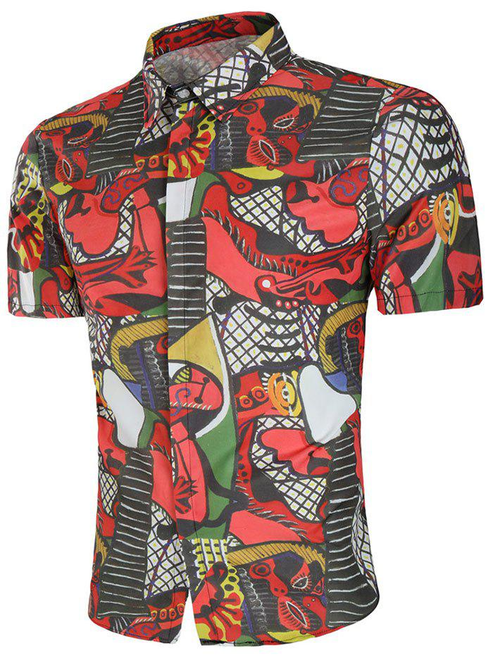 Discount Abstract Print Short Sleeve Shirt