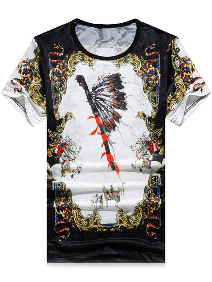Buy Short Sleeve Mini Mesh Animal Feather Print T-shirt