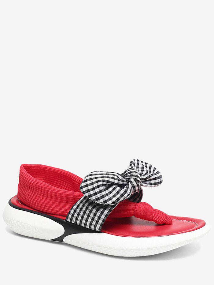 Outfit Leisure Low Heel Plaid Bowknot Slip On Sandals