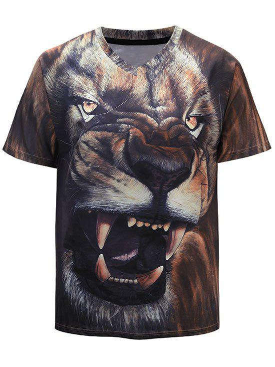 Outfit 3D Lion Roaring Print Short Sleeve Casual T-shirt