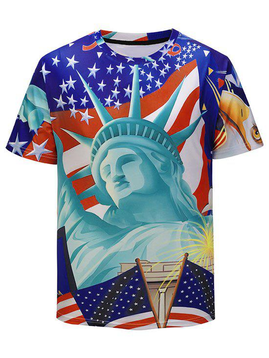 Outfits 3D Statue of Liberty Print Short Sleeve T-shirt