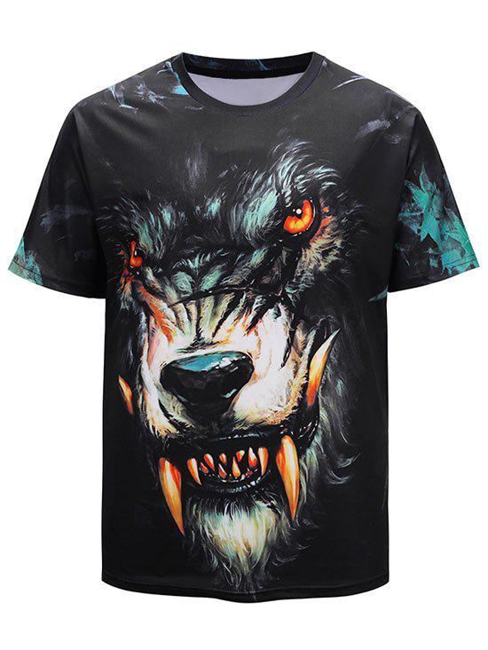 Trendy 3D Devil Werewolf Print Short Sleeve Summer T-shirt
