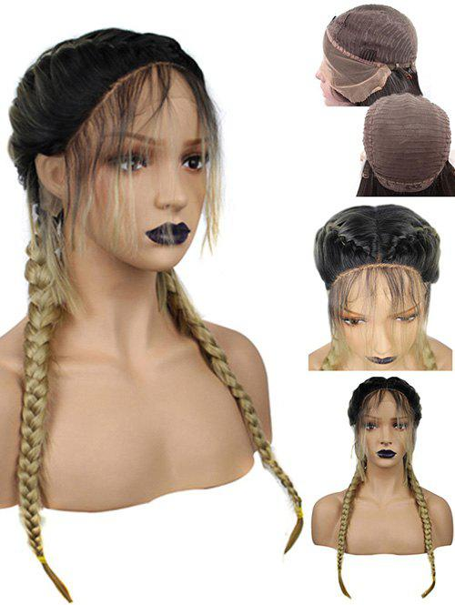 Outfits Long Center Parting Braids Colormix Synthetic Lace Front Wig