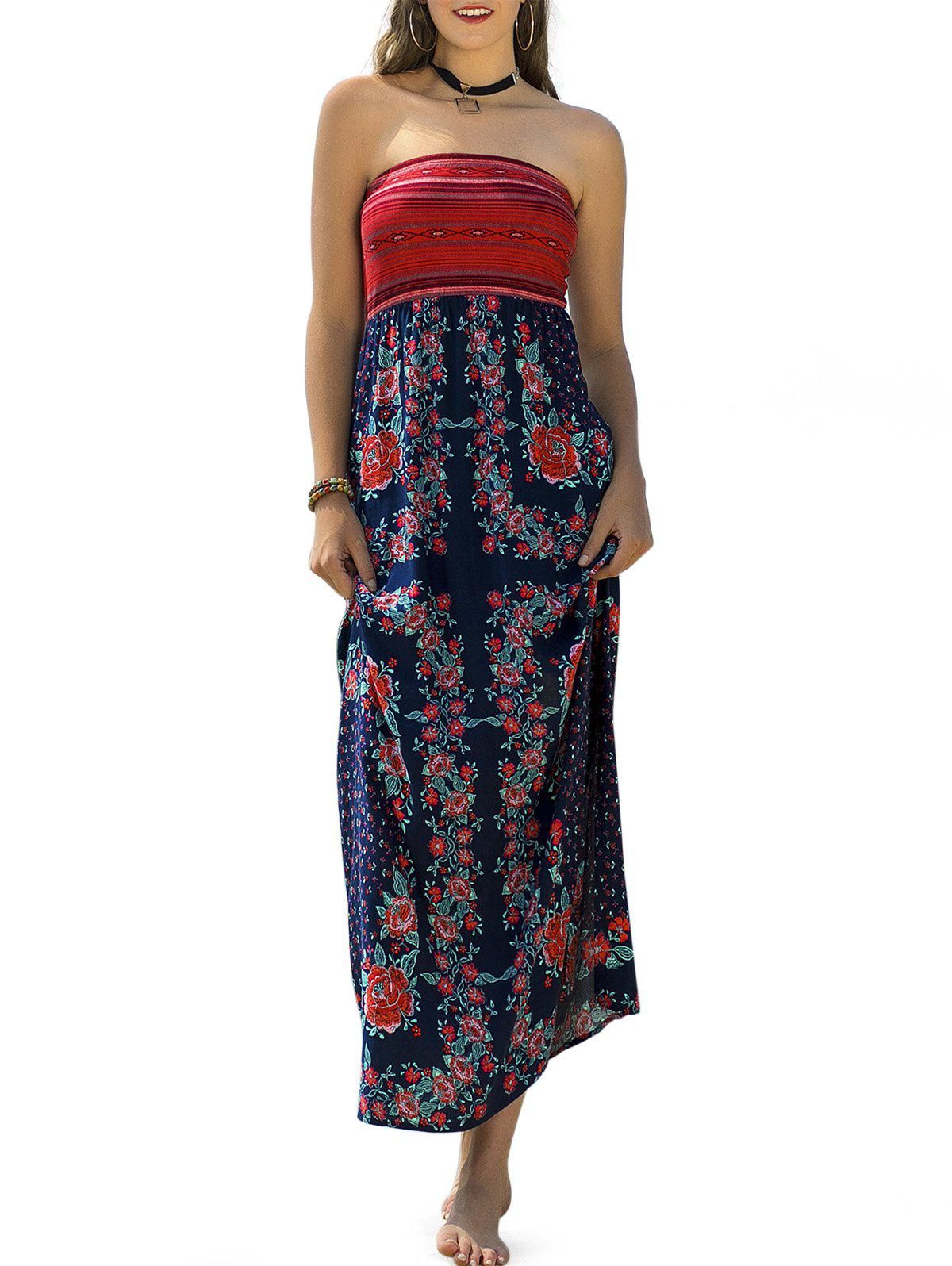 Store Vacation Style Strapless Floral Printed Dress