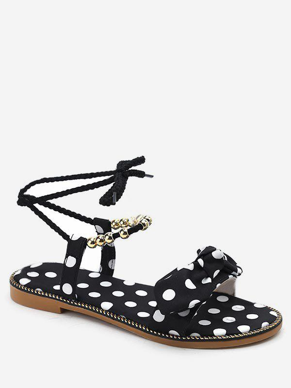 Unique Polka Dot Beading Bow Decorated Ankle Strap Sandals