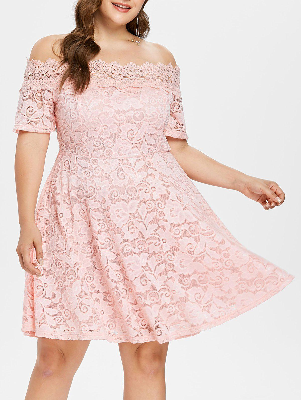 Affordable Off The Shoulder Plus Size Lace Dress