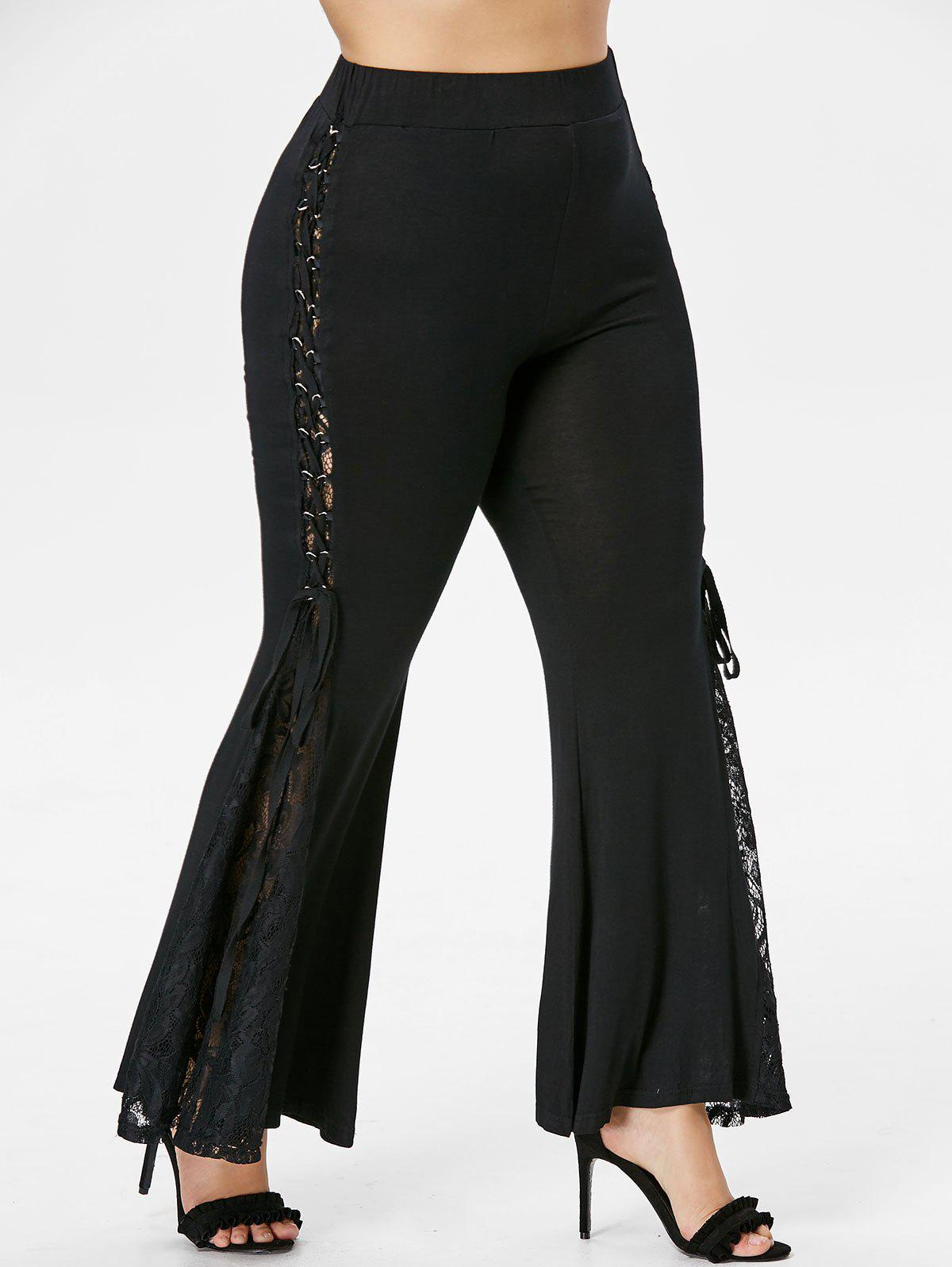 Unique Plus Size Lace Up Bell Bottom Pants