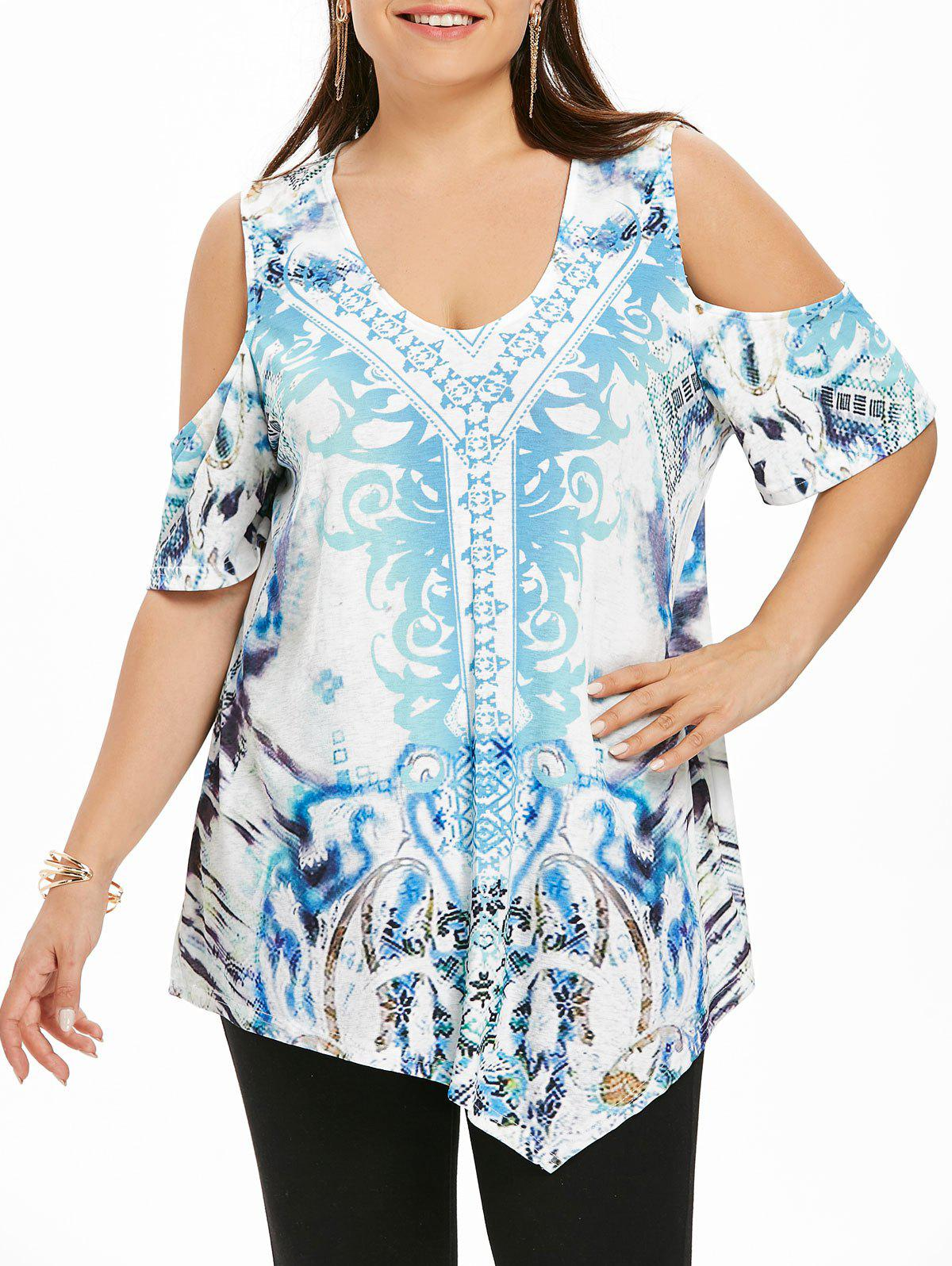 Affordable Plus Size Cold Shoulder Printed Top