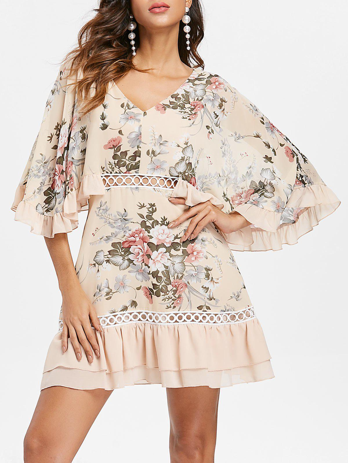Unique Butterfly Sleeve Mini Floral Chiffon Dress