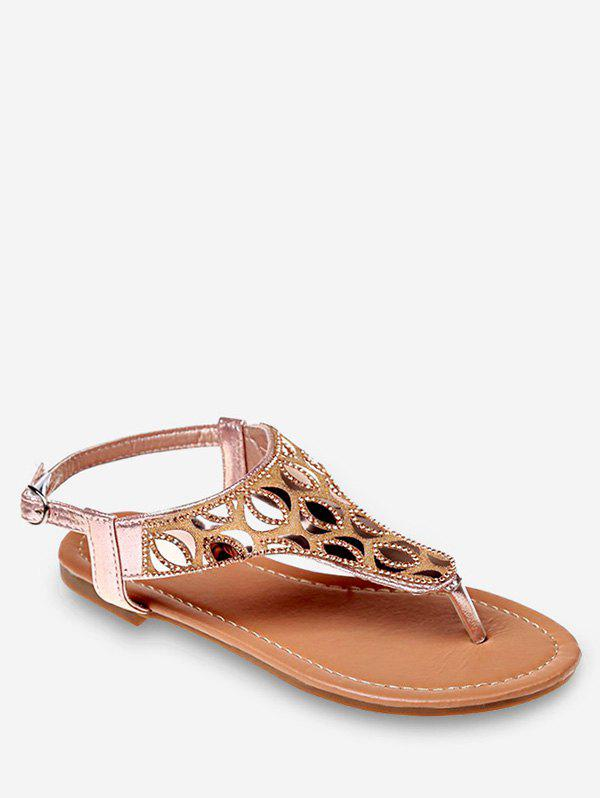 Sale Crystals Buckled Flat Heel Beach Thong Sandals