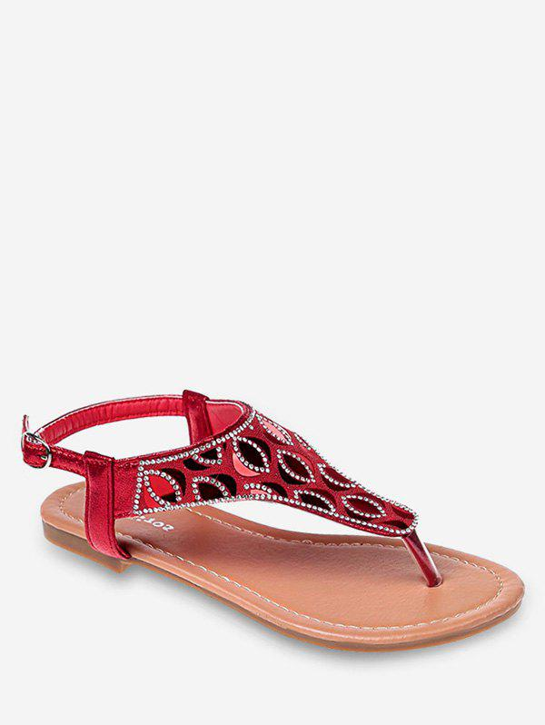 Best Crystals Buckled Flat Heel Beach Thong Sandals