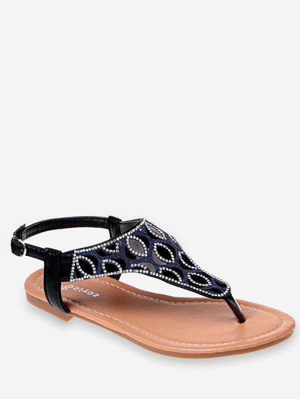 Store Crystals Buckled Flat Heel Beach Thong Sandals