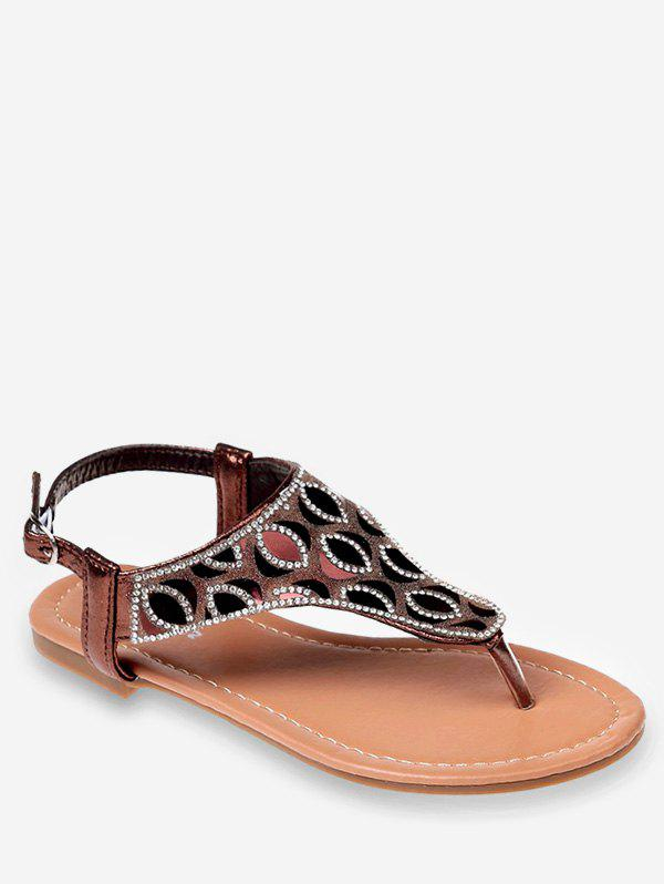 Unique Crystals Buckled Flat Heel Beach Thong Sandals