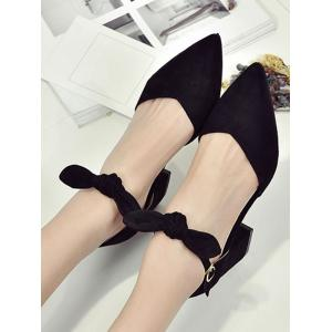 Ankle Wrap Bowknot Block Heel Buckled Pumps -