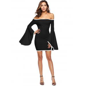 Bell Sleeve Off The Shoulder Mini Dress -