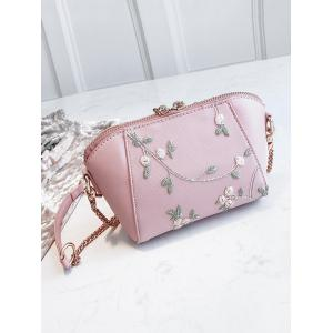 Flower Embroidery Shell Shaped Chic Crossbody Bag -