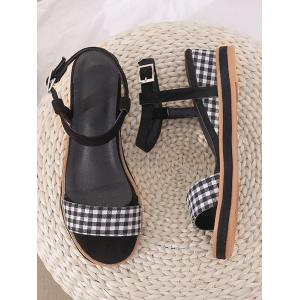 Buckled Plaid Decorated Wedge Heel Ankle Wrap Sandals -