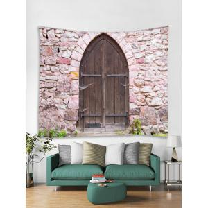 Wood Door Wall Pattern Tapestry Hanging Decor -