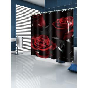 Vintage Rose Flower Print Waterproof Shower Curtain -