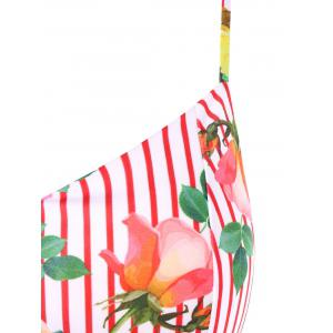 Rose Stripes Imprimer Cami Strap Robe en queue de poisson -