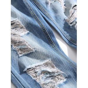 Ripped Distressed Button Placket Jeans -