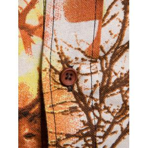 Autumn Forest Animals and Plants Print Button Up Shirt -