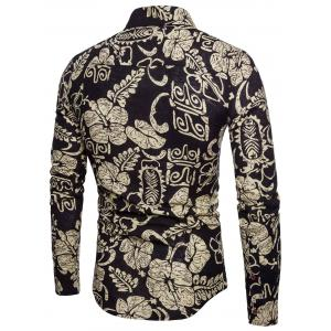Ethnic Flowers Leaves Print Button Up Long Sleeve Shirt -